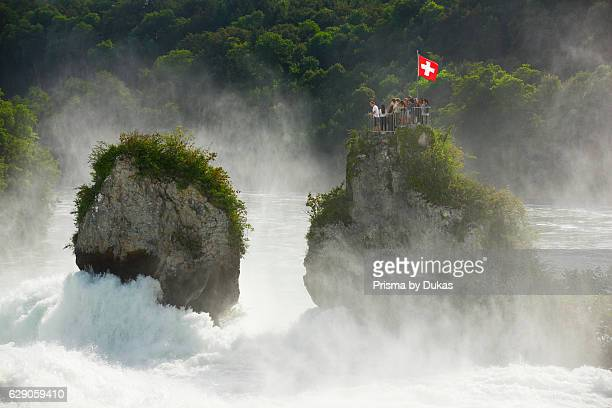 The Rhine Falls with rock Switzerland