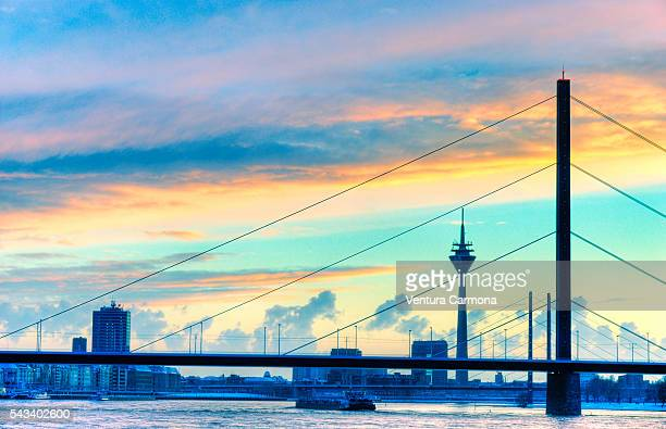 the rhine on winter at düsseldorf, germany - düsseldorf stock pictures, royalty-free photos & images