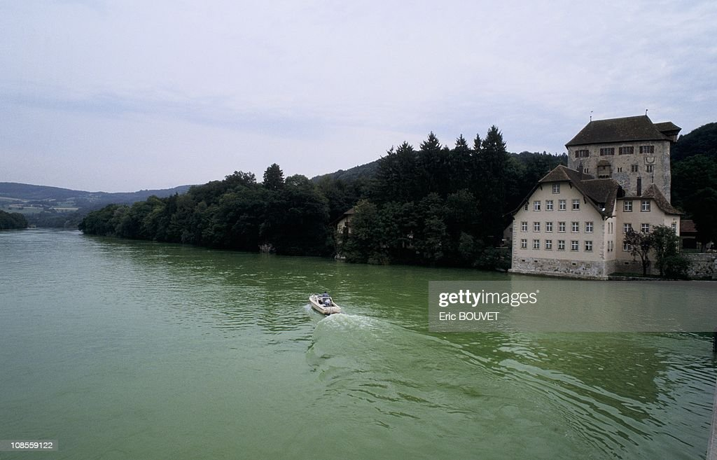 The Rhine river subjected to a test of green coloring in Switzerland on July 18th, 1989. : News Photo