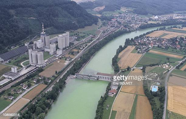 The Rhine river subjected to a test of green colouring in Switzerland on July 18th 1989