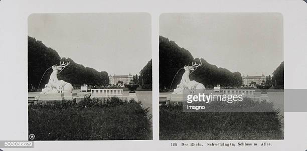 The Rhine Schwetzingen Castle with main axis and one of the deer sculptures About 1900 Stereophotography