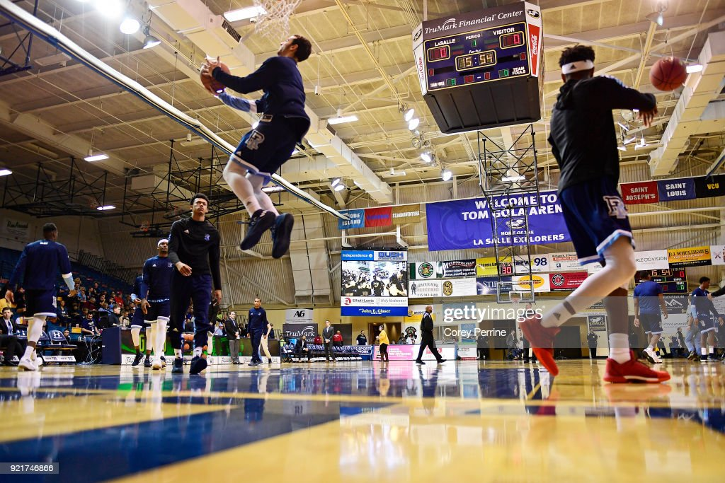 The Rhode Island Rams warm up before action against the La Salle Explorers at Tom Gola Arena on February 20, 2018 in Philadelphia, Pennsylvania.