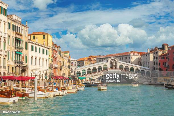the rialto bridge and the grand canal in venice, italy - venezia foto e immagini stock