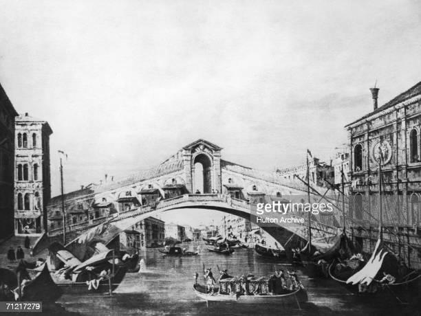 The Rialto Bridge in Venice circa 1735 A painting by Giovanni Antonio Canal aka Canaletto