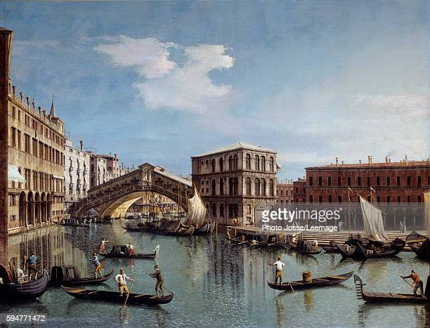 The Rialto Bridge in Venice Painting by Antonio Canal called Canaletto 18th century 119 x154 m Louvre Museum Paris France