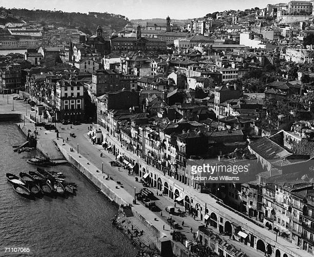 The Ribeira district in the city of Porto or Oporto situated on the River Douro in Portugal circa 1930
