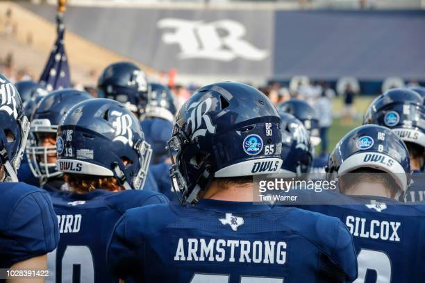 The Rice Owls prepare to take the field before the game against the Prairie View AM Panthers at Rice Stadium on August 25 2018 in Houston Texas
