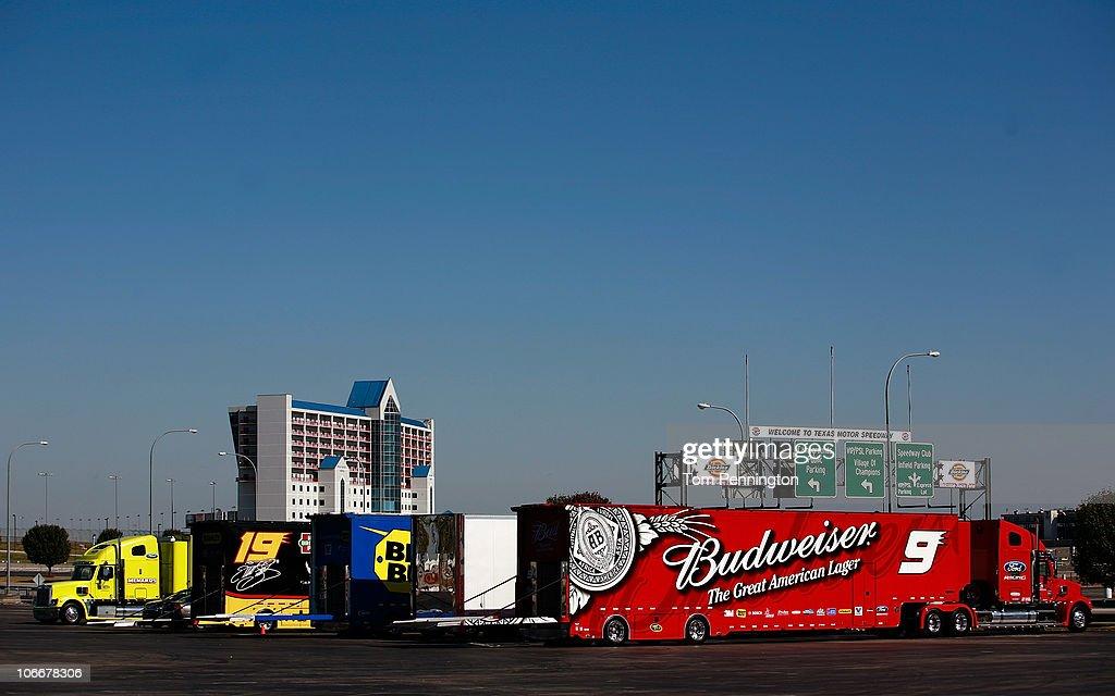 Richard Petty Motorsports Haulers on Lockdown at Texas Motor Speedway : News Photo