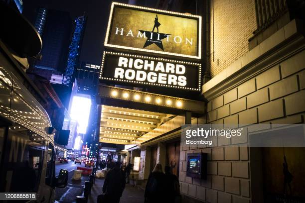 The Richard Rodgers Theatre home to the Hamilton musical is closed during a cancelled evening performance in the Times Square neighborhood of New...