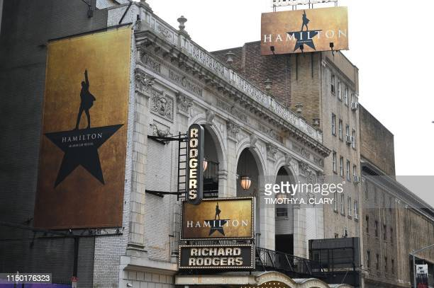 "The Richard Rodgers Theatre is seen on June 6, 2019 located on 226 West 46th Street where ""Hamilton"", one of Broadways biggest hits, is playing in..."