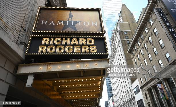 The Richard Rodgers Theatre is seen on June 6 2019 located on 226 West 46th Street where Hamilton one of Broadways biggest hits is playing in New...
