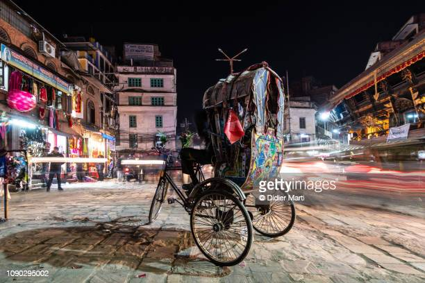 the rickshaw of kathmandu, nepal - kathmandu stock pictures, royalty-free photos & images