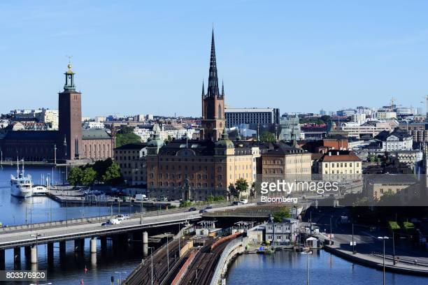 The Riddarholm church stands above other historic buildings on the Riddarholm islet in Stockholm, Sweden, on Wednesday, June 28, 2017. Just as...