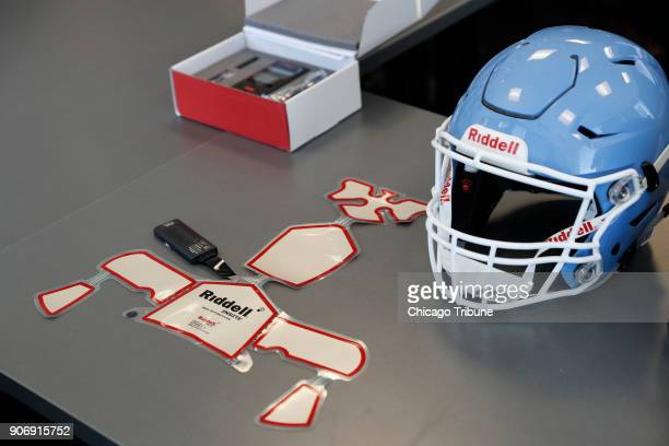 The Riddell impact response system which includes the alert monitor in box above and sensor pads used in the Riddell Speedflex Precision fit helmets...