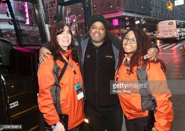 The Ride Customer Care Catherine Mills The Ride Driver Malik Francis and The Ride Customer Care Brianna McKenith pose as The Ride welcomes it's...