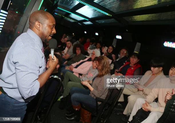 The Ride Host Lawrence Neals welcomes the audience as The Ride welcomes it's 1000th Rider on the immersive bus tour of NYC on February 25 2020 in New...