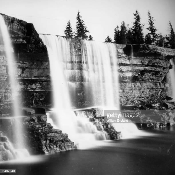 The Rideau Falls in Ottawa Ontario where the Rideau River joins the Ottawa River