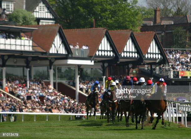 The riders come round for the first time during the Chester Cup at the Chester Racecourse on May 7 2008 in Chester England