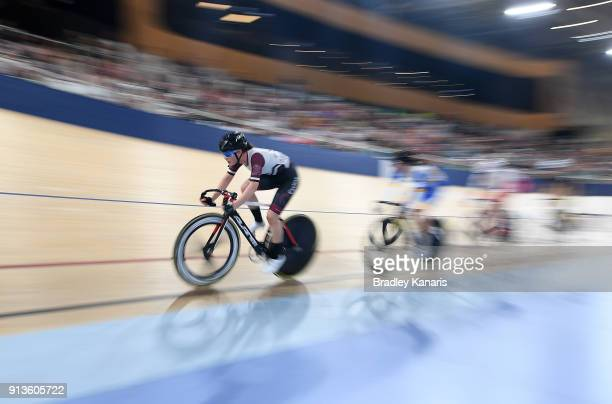 The riders compete in the Women's U19 Madison 20km race during the 2018 Australian Track National Championships at Anna Meares Velodrome on February...