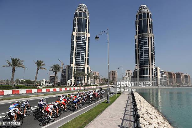The riders head towards the gateway of The Pearl during the Elite Womens Road Race on Day Seven of the UCI Road World Championships at The Pearl on...