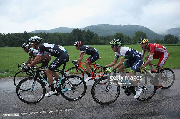 The riders in the breakaway Blel Kadri of France and AG2R La Mondiale, Niki Terpstra of The Netherlands and the Omega Pharma - Quick-Step Cycling...
