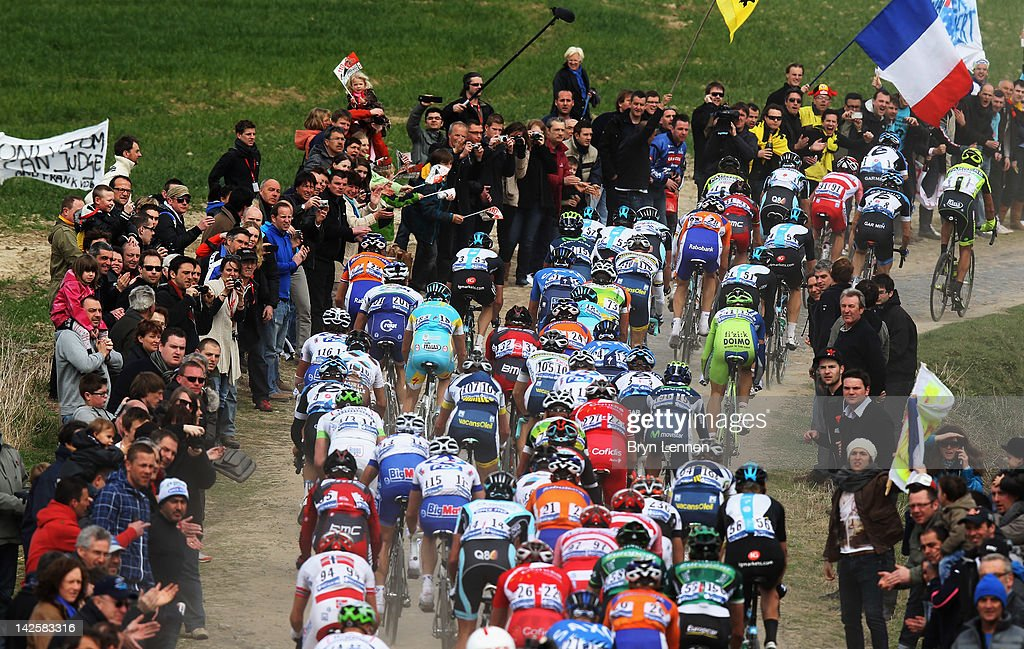 The riders make their way over the cobbles on the 2012 Paris Roubaix cycle race from Compiegne to Roubaix on April 8, 2012 in Roubaix, France. The 110th edition of the race is 257km long with 51.5km of cobbles spread over 27 sections.
