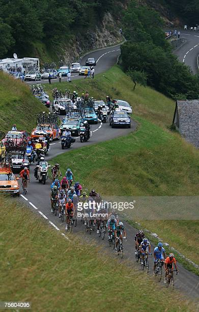 The riders make their way through the French countryside stage 15 of the 2007 Tour de France from Foix to Loudenvielle Le Louron on July 23, 2007 in...