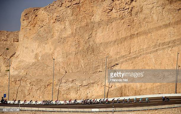 The riders make their way up the climb of Jebel Hafeet during stage three of the 2015 Abu Dhabi Tour from Al Qattara Souq to Jebel Hafeet on October...