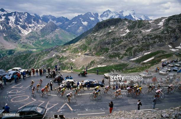 The riders reach the top of the Col du Galibier in France between Le Bourgd'Oisans and La Plagne during Stage 21 of the Tour de France July 1987