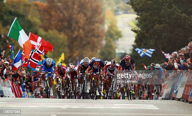 The riders sprint towards the finish line in the Men's Under 23 Road Race during day five of the UCI Road World Championships on September 23, 2011...