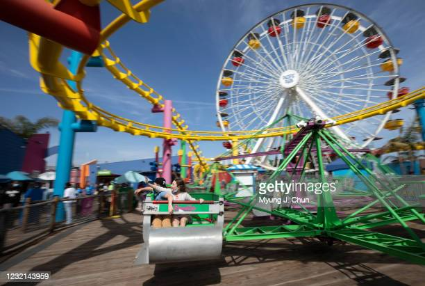 The rides were open to the public at Pacific Park on the Santa Monica Pier as Los Angeles County on Monday, April 5, 2021 entered the less strict...