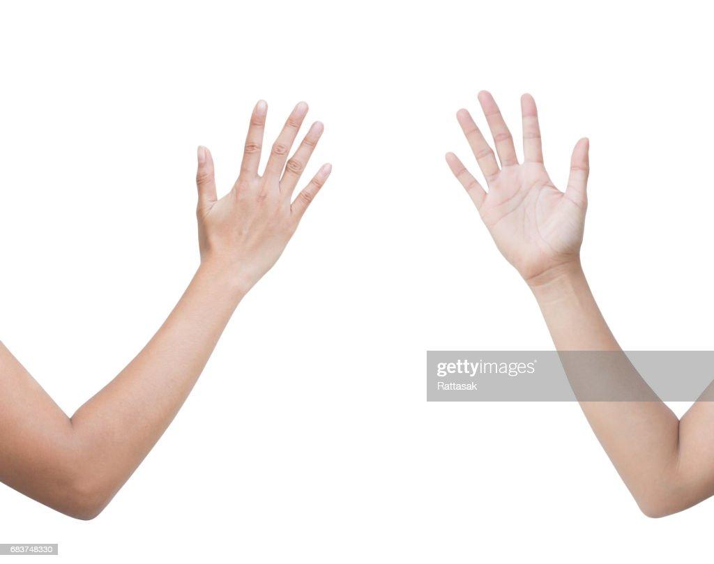 631044758ec9 ... de frontal del espectáculo mujer Rock Paper Scissors firman para  encontrar los ganadores en el juego. Ver cartel de papel. aislado sobre fondo  blanco.