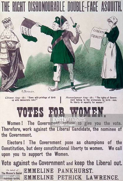 'The Right Dishonourable Doubleface Asquith' c1910 Poster produced by the Women's Social and Political Union urging support for the cause of votes...