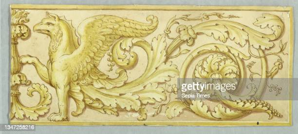 The right half of a frieze, Pencil, brush, sepia, yellow watercolor, paper, Horizontal rectangle. The half-figure of a griffon with a rinceau...