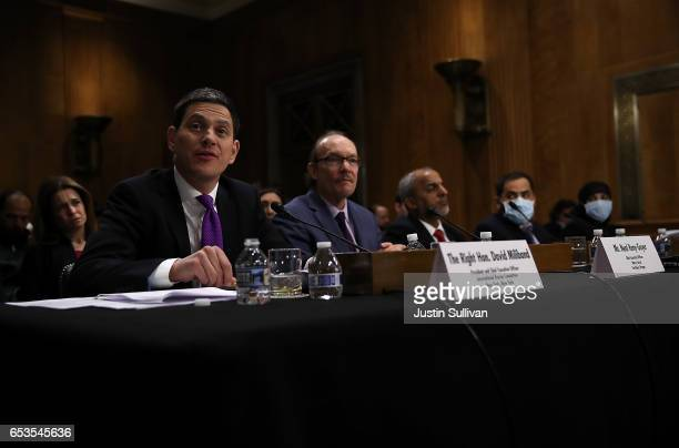 The Right Honorable David Miliband President and CEO of International Rescue Committee speaks to the Senate Foreign Relations committee at Dirksen...