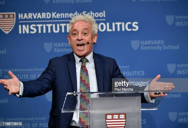 The Right Honorable John Bercow speaks at at Harvard University's John F Kennedy School Institute of Politics on September 16 2019 in Cambridge...