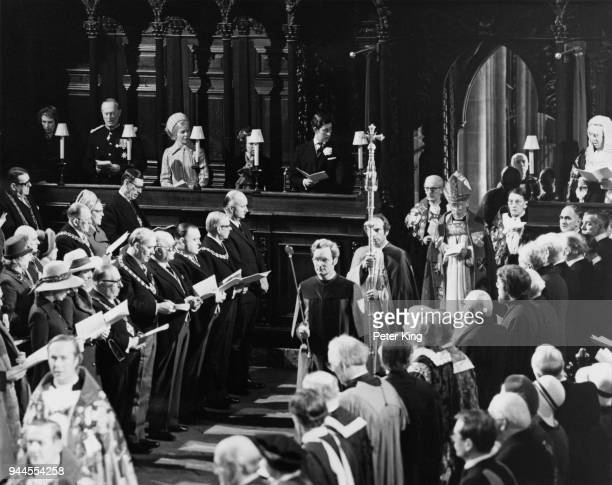 The Right Honourable and Reverend Donald Coggan is enthroned as the 101st Archbishop of Canterbury at Canterbury Cathedral, UK, 24th January 1975....