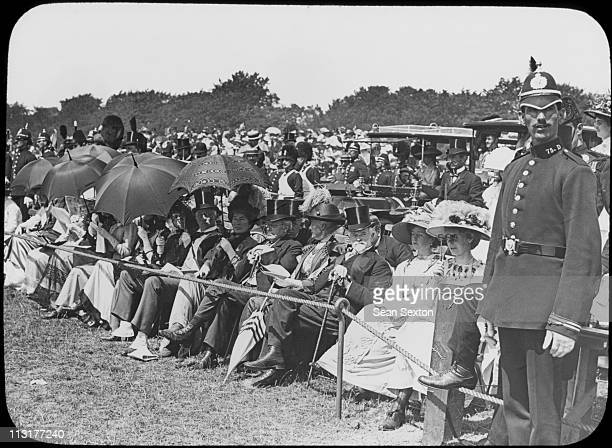 The Right Honourable Augustine Birrell Chief Secretary for Ireland is amongst the spectators at a military review during a visit to Dublin by King...