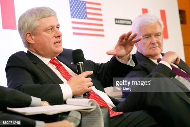 The Right Honourable Stephen Harper and Hon Newt Gingrich speak about Trump Trudeau and Nieto regarding NAFTA Negotiations at Dentons NAFTA 20 Summit...
