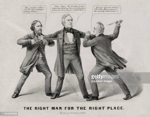 the Right Man for the Right Place Political Cartoon featuring US Presidential Candidates John C Fremont Millard Fillmore James Buchanan Nathaniel...