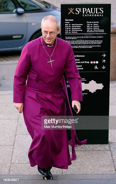 The Right Reverend Justin Welby Bishop of Durham arrives at St Paul's Cathedral to attend a service of confirmation during which he will become The...