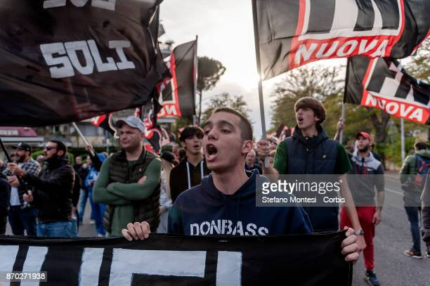 The rightwingextremists party 'Forza Nuova' demonstrate on the day of national unity and of the armed forces in defense of the country and against...