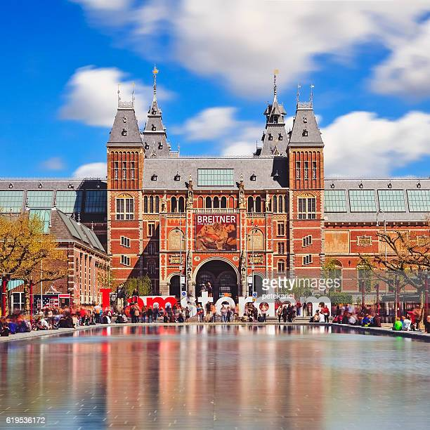 the rijksmuseum and i amsterdam sign - long exposure - rijksmuseum stock photos and pictures