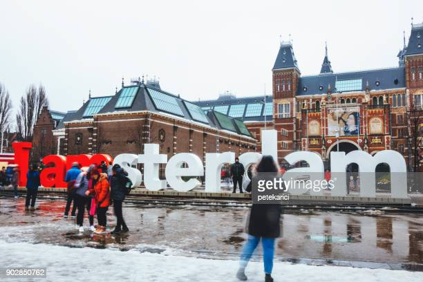 the rijksmuseum and i amsterdam sign - rijksmuseum stock photos and pictures