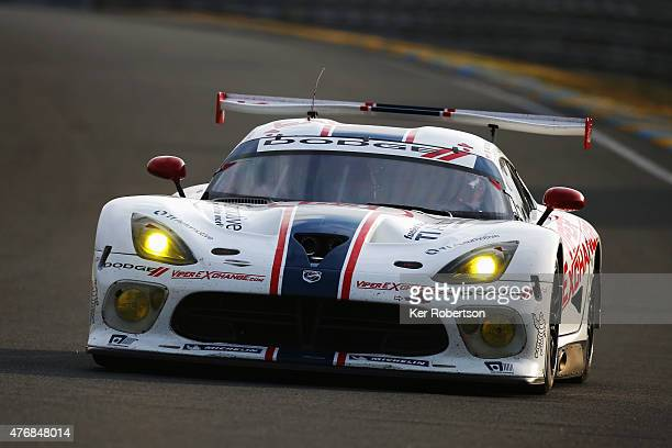 The Riley Motorsports Viper of Jeroen Bleekemolen Ben Keating and Marc Miller drives during qualifying for the Le Mans 24 Hour race at the Circuit de...