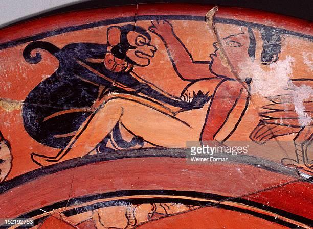 The rim of a dish showing spider monkeys symbols of sexual excitement fondling women Guatemala Maya 675 750 Uaxactum
