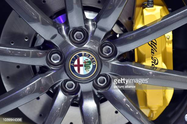 The rim of an Alfa Romeo 4c Spider photographed at the North American International Auto Show in the Cobo Center in Detroit USA 13 January 2015 Photo...