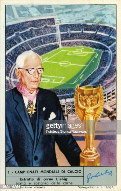 The Rimet cup. The illustration depicts Jules Rimet , French football player, sports manager and inventor of the football world championship, at the...