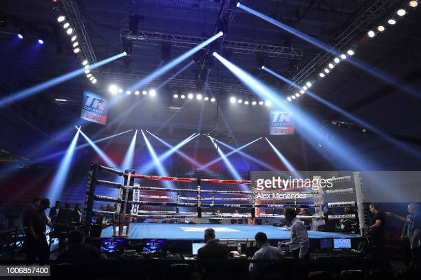 The ring is set up prior to the Christopher Diaz v Masayuki Ito ESPN boxing match at the Kissimmee Civic Center on July 28 2018 in Kissimmee Florida