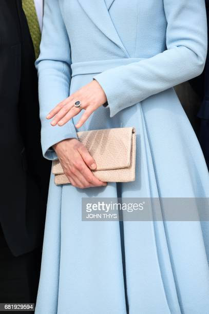 The ring of Britain's Catherine Duchess of Cambridge is pictured as she takes part in the Celebration of the 150th anniversary of the 1867 Treaty of...